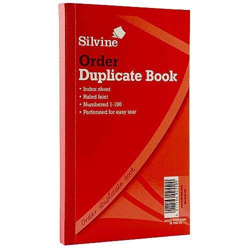 "Silvine Red Duplicate 8x5"" Order Book Pack of 6 610"