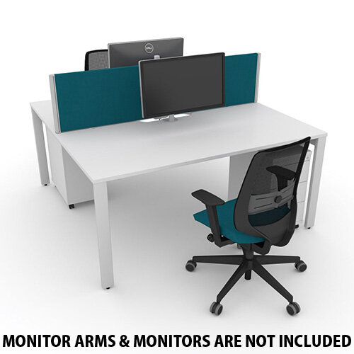 Switch 2 Person Bench Desk With Privacy Screens, Matching Under-Desk Pedestals &Chairs W 1400mm x D 2x600mm