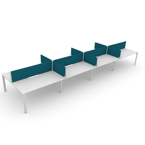 Switch 8 Person Bench Desk With Privacy Screens W 4x 1600mm x D 2x800mm