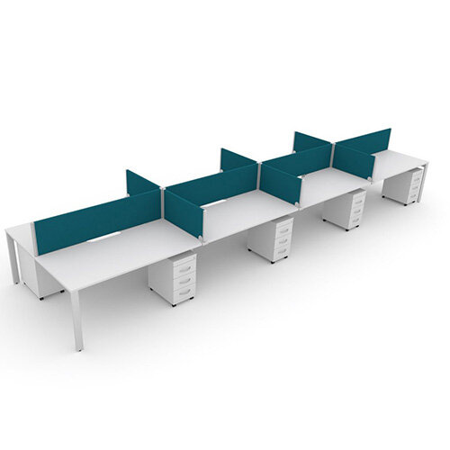 Switch 8 Person Bench Desk With Privacy Screens &Matching Under-Desk Pedestals  W 4x 1600mm x D 2x700mm