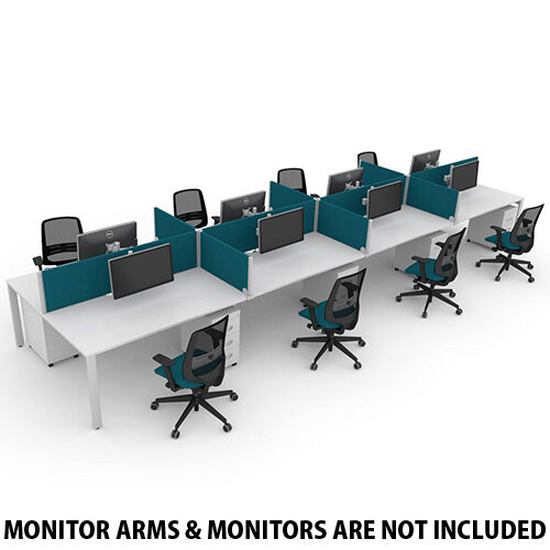 Switch 8 Person Bench Desk With Privacy Screens, Matching Under-Desk Pedestals &Chairs W 4x 1600mm x D 2x600mm