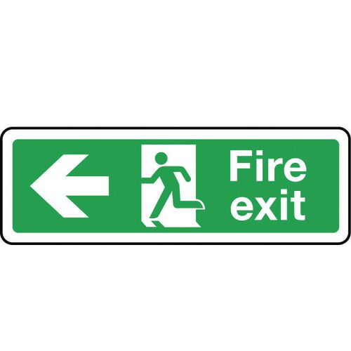 Sign Fire Exit Arrow Left 300x100 Aluminium