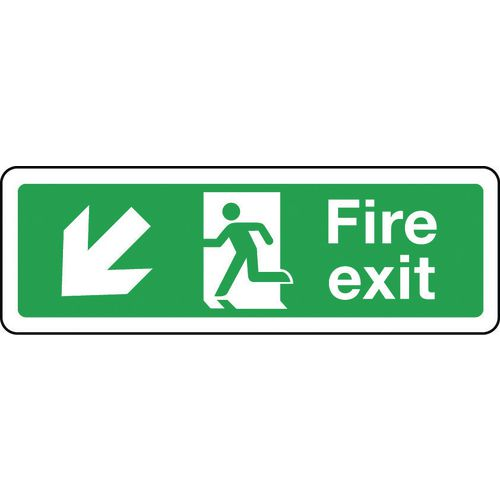 Sign Fire Exit Arrow Down Left Left 600x200 Aluminium