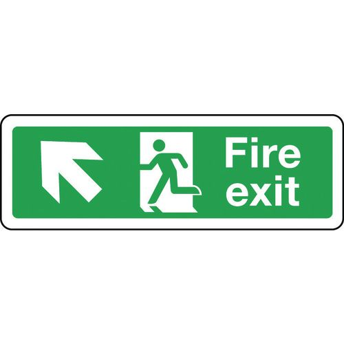 Sign Fire Exit Arrow Up Left 600x200 Aluminium