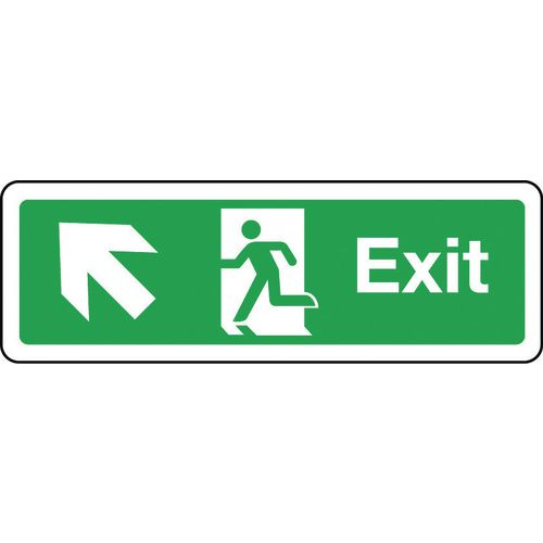 Sign Exit Arrow Up Left 300x100 Aluminium