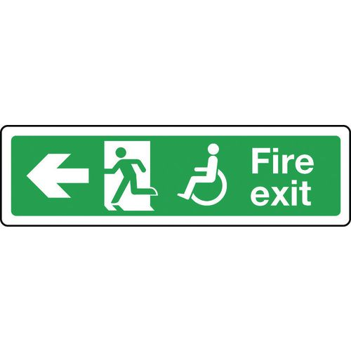 Sign Disabled Fire Exit Left 600x150 Aluminium