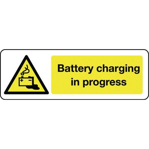 Sign Battery Charging In Progress 300x100 Aluminium