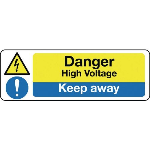 Sign Danger High Voltage Keep Away 600x200 Aluminium