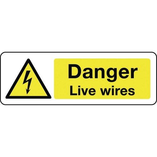 Sign Danger Live Wires 300x100 Aluminium