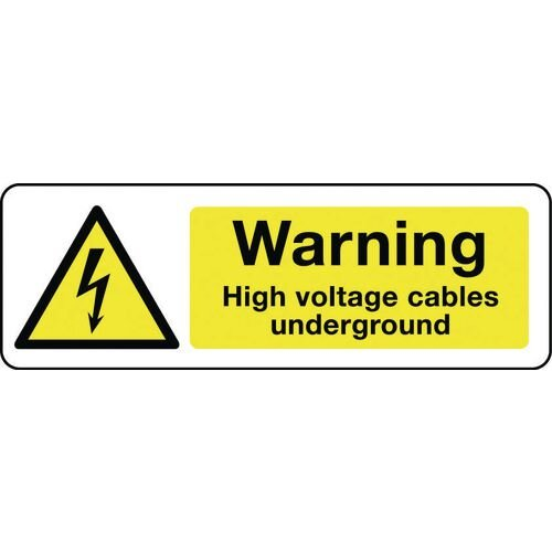 Sign Warning High Voltage Cables 600X200 Aluminium Electrical Hazard Signs - Warning High Voltage Cables Underground