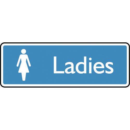 Sign Ladies 300X100 Aluminium White On Blue