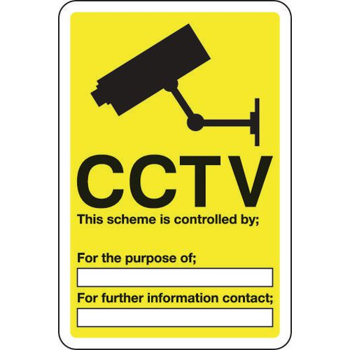 Sign Cctv This Scheme Is Controlled 200x300 Aluminium