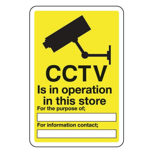 Sign Cctv Is In Operation In This Store 300x400 Aluminium