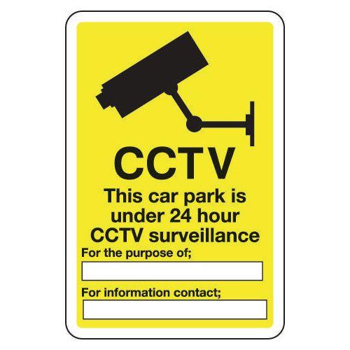 Sign Cctv This Car Park Is Under 24 300x400 Aluminium