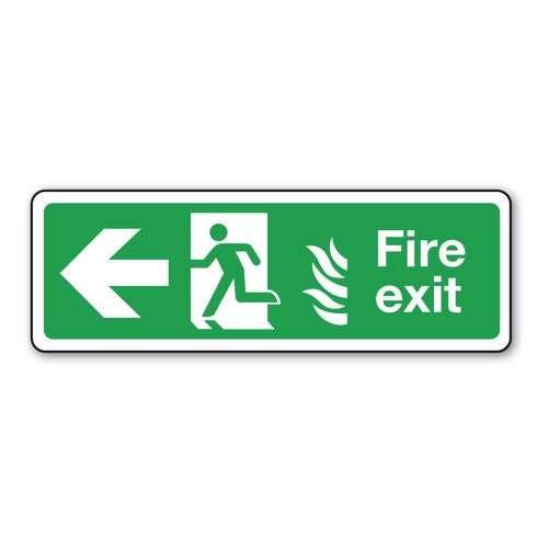 Sign Fire Exit Arrow Left 600x150 Aluminium