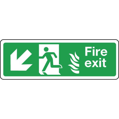 Sign Fire Exit Arrow L Down 600x150 Aluminium