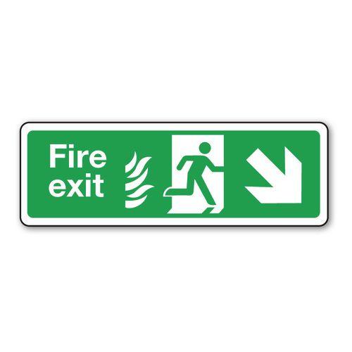 Sign Fire Exit Arrow R Down 350x100 Aluminium
