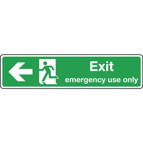 Sign Exit Emergency Use Only Arrow Left 550X125 Aluminium