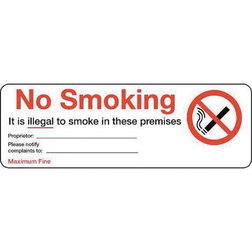 Sign No Smoking 300X100 Aluminium