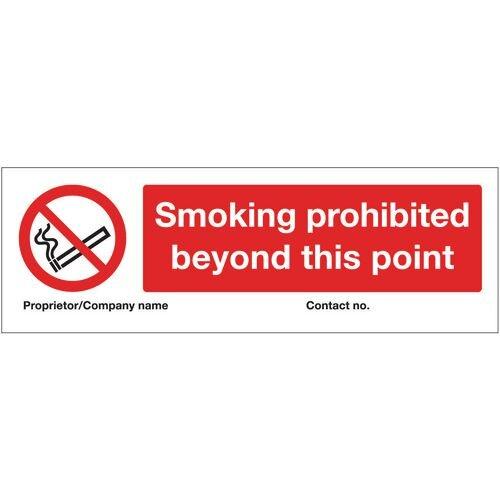 Sign Smoking Prohibited Beyond This Point 300X100 Aluminium