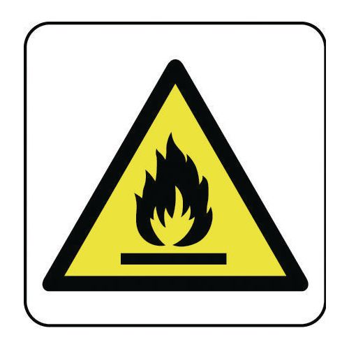 Sign Flammable Pictorial 400x400 Rigid Plastic