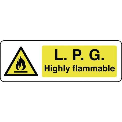 Sign Lpg Highly Flammable 600x200 Rigid Plastic