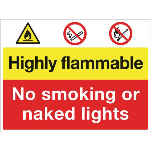 Sign Highly Flammable No Smoking 600X450 Rigid Plastic