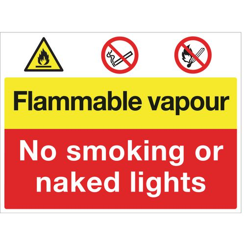 Sign Flammable Vapour No Smoking 600X450 Rigid Plastic