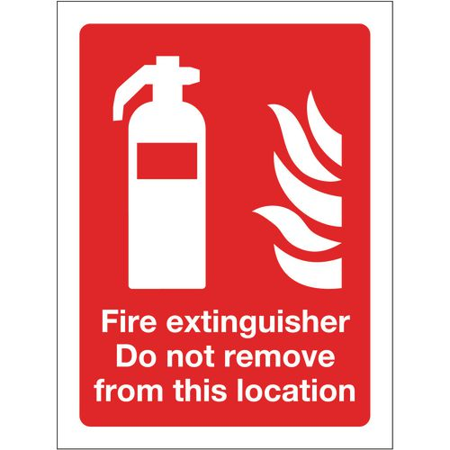 Sign Fire Extinguisher Do Not Remove 300X400 R/D Plastic