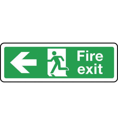 Sign Fire Exit Arrow Left 300x100 Rigid Plastic