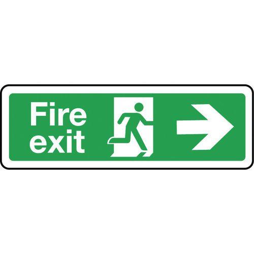 Sign Fire Exit Arrow Right 600x200 Rigid Plastic