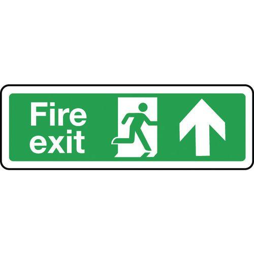 Sign Fire Exit Arrow Up 300x100 Rigid Plastic