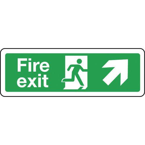 Sign Fire Exit Arrow Up Right 300x100 Rigid Plastic