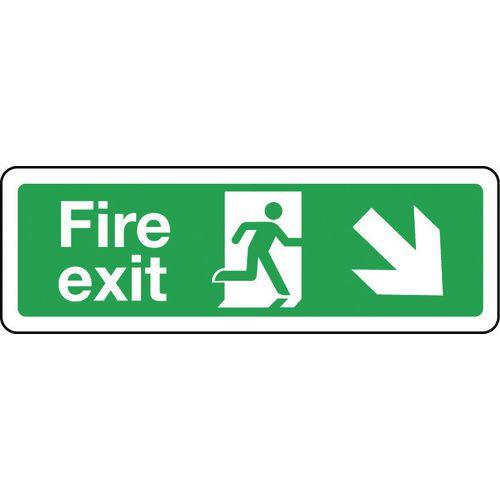 Sign Fire Exit Arrow Down Right 300x100 Rigid Plastic