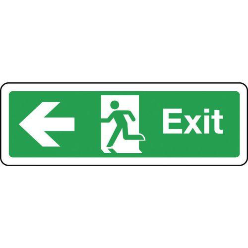 Sign Exit Arrow Left 300x100 Rigid Plastic