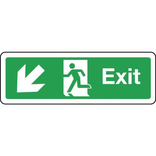 Sign Exit Arrow Down Left 300x100 Rigid Plastic