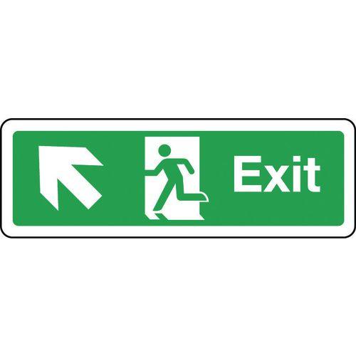 Sign Exit Arrow Up Left 300x100 Rigid Plastic