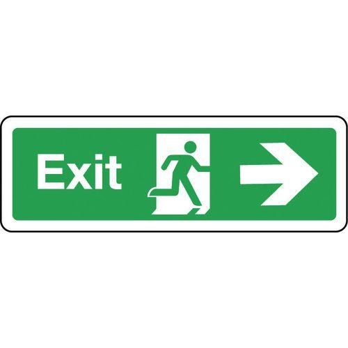 Sign Exit Arrow Right 300x100 Rigid Plastic