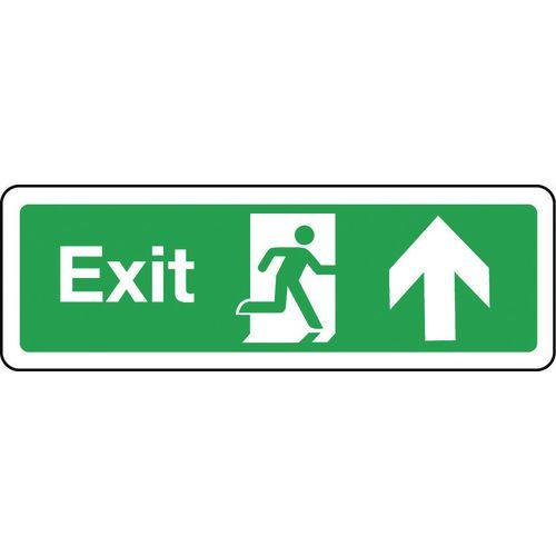 Sign Exit Arrow Up 300x100 Rigid Plastic