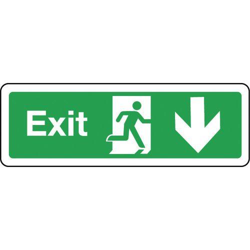 Sign Exit Arrow Down 300x100 Rigid Plastic