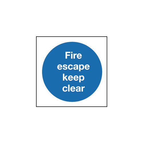 Sign Fire Escape Keep Clear 400x400 Rigid Plastic