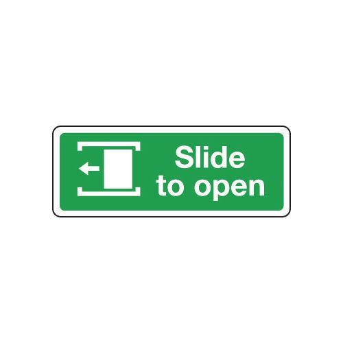 Sign Slide To Open Left 600x200 Rigid Plastic