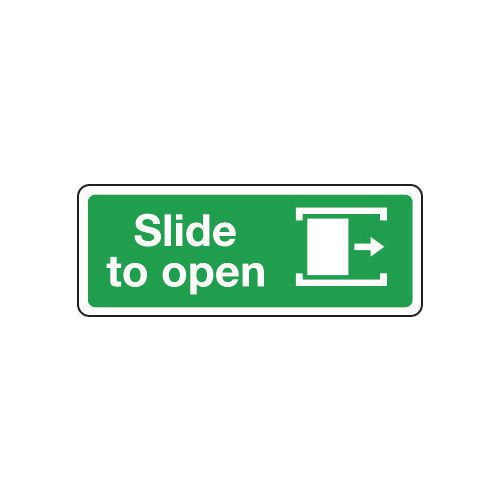 Sign Slide To Open Right 600x200 Rigid Plastic
