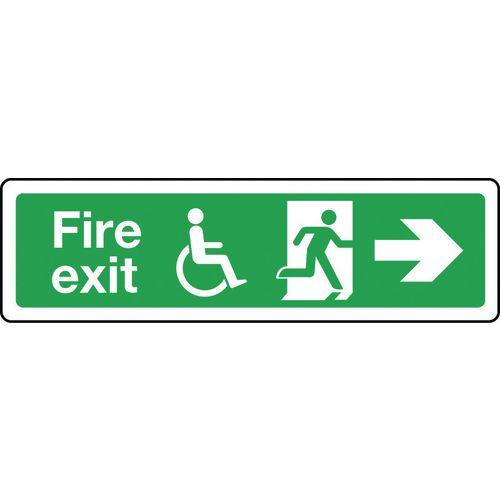 Sign Disabled Fire Exit Right 350x100 Rigid Plastic