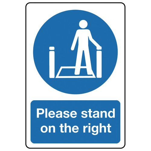 Sign Please Stand On The Right 200x150 Rigid Plastic