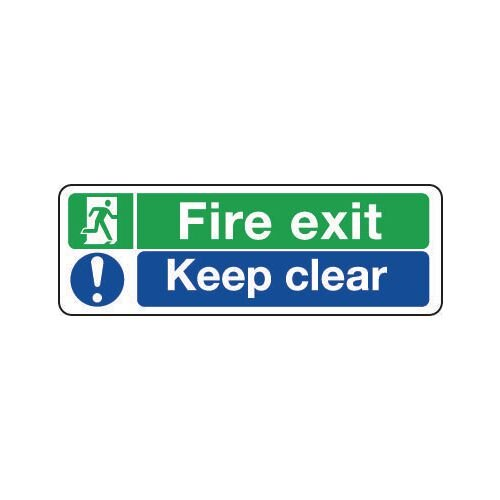 Sign Fire Exit Keep Clear 300x100 Rigid Plastic