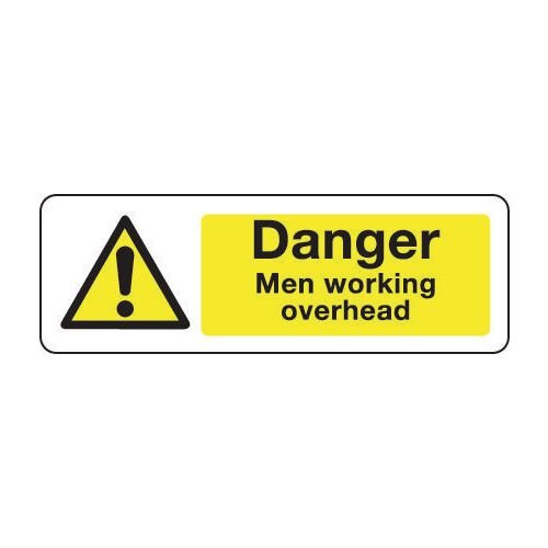 Sign Danger Men Working Overhead 300X100 Rigid Plastic