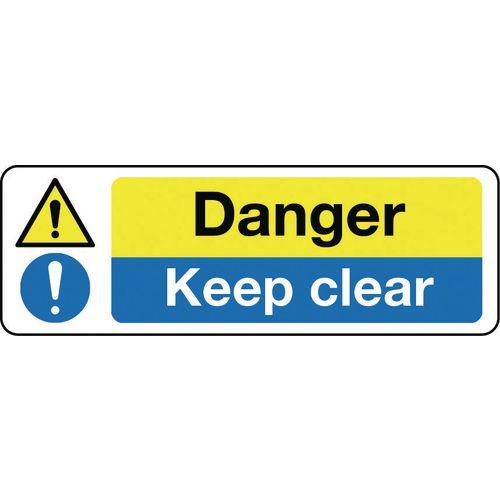 Sign Danger Keep Clear 300x100 Rigid Plastic