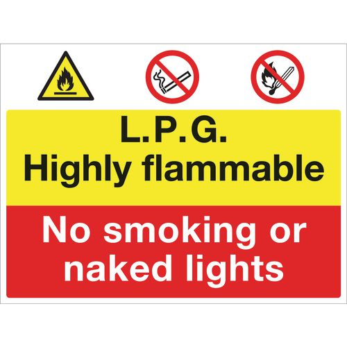 Sign Lpg Highly Flammable 600x450 Rigid Plastic