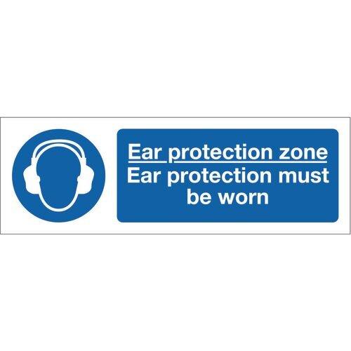 Sign Ear Protection Zone 600x200 Rigid Plastic